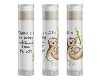 Sloth Baby Shower Favors, Sloth Gender Reveal, Cute Sloth Gifts, Sloth Party Favors, Neutral Baby Shower Favors, Lip Balm, Set of 15