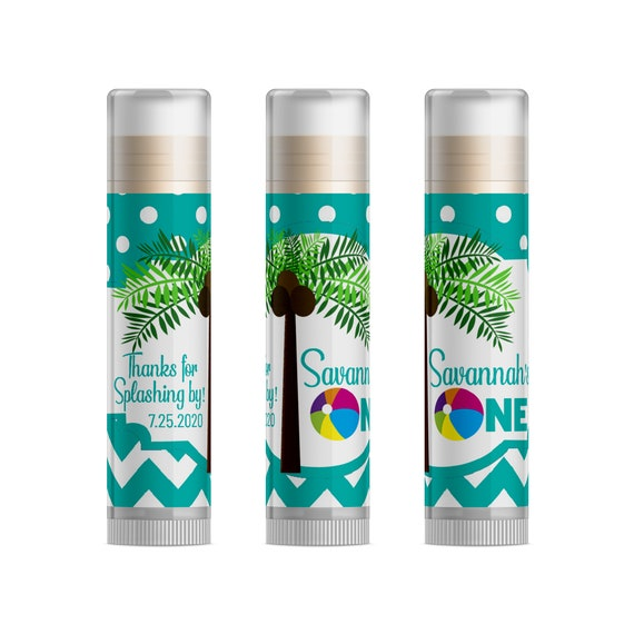 Beach Ball Baby First Birthday Party Ideas Tropical 1st Favors Summer Palm Tree Personalized Lip Balm 15pc