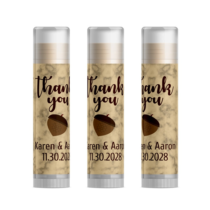 cac594bf327e3 Acorn Wedding Favor Gift Ideas, Cheap Personalized Wedding Favors, Fall  Wedding Favors, Autumn Themed Personalized Lip Balm Favors, 15pc