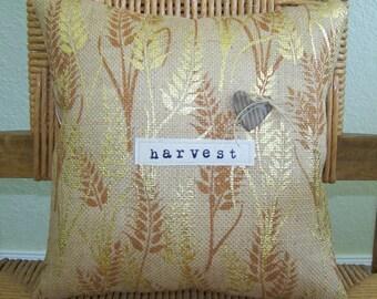 Fall pillow, Harvest pillow, burlap pillow, Fall decor, Metallic gold, Autumn pillow, stenciled pillow, Thanksgiving decor, FREE SHIPPING!
