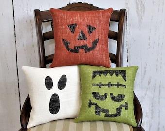 Halloween pillows pumpkin pillow Ghost pillow Frankenstein pillow burlap pillow Halloween decor Fall pillow sets FREE SHIPPING!