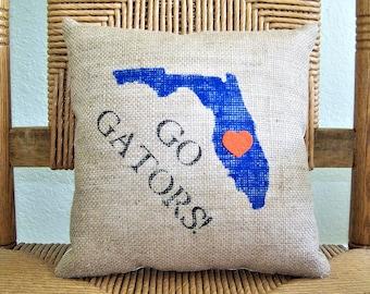 University of Florida pillow, Graduation gift, Gators pillow, U of F pillow, Dorm room decor, FREE SHIPPING!