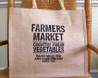 Farmers market tote bag, Burlap tote bag, Stenciled tote bag, Reusable bag, Market bag, FREE SHIPPING!