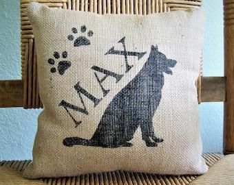 German Shepard pillow, personalized dog pillow, dog lover gift, pet pillow, silhouette pillow, burlap Pillow, FREE SHIPPING!