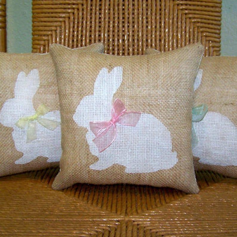 Bunny pillow Easter pillow Spring pillow burlap pillow image 0