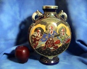 Antique Japanese Satsuma Moriage Moon Flask Vase with Kakihan Mark, Free Shipping (194)