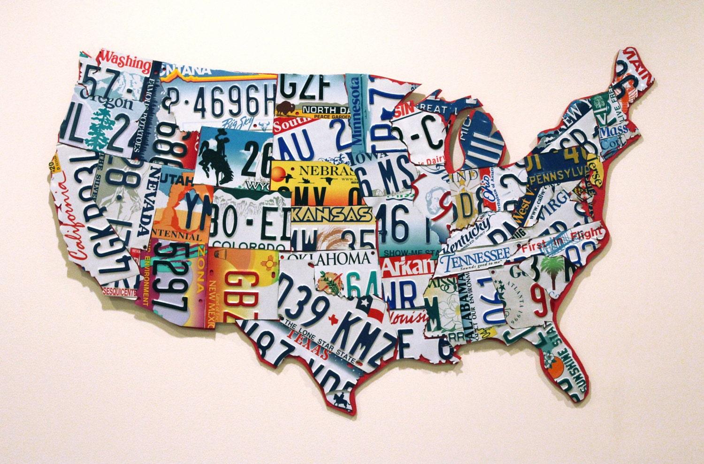 Einzigartige Nummernschild USA-Karte | Etsy