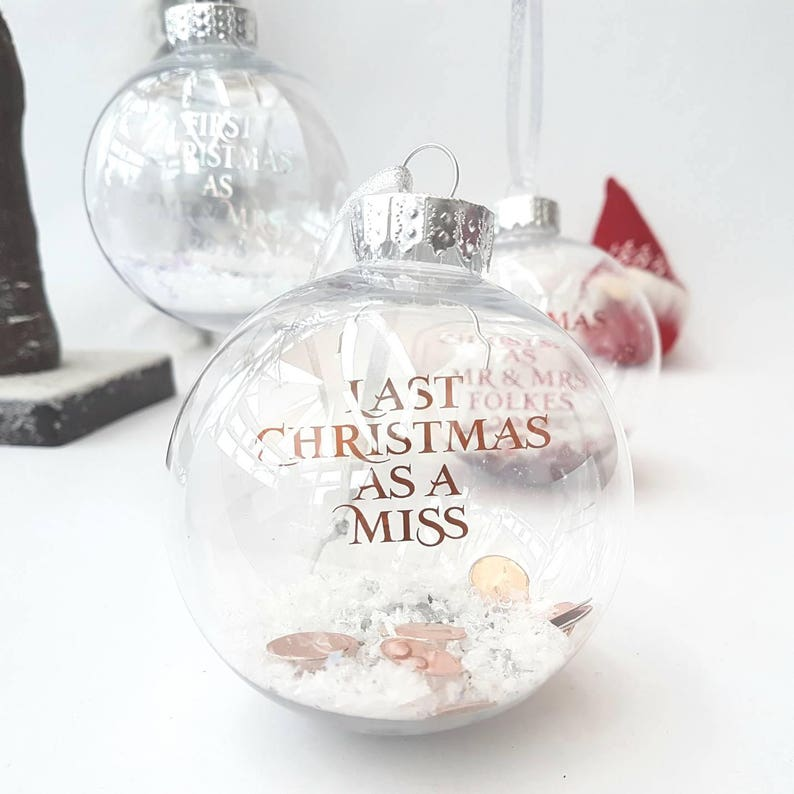 Personalised bauble  2021 bride gift  Last Christmas as a image 0