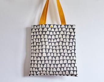 Handmade screen printed semi-circle design tote bag