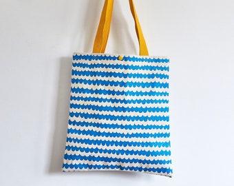 Blue wave screen printed tote bag