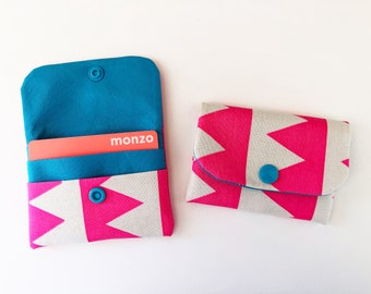 Hand screen printed neon pink triangles card wallet
