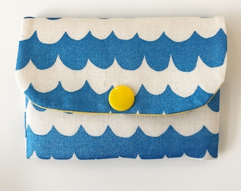 Hand screen printed blue wave card wallet