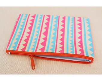 Pink and Blue patterned zipped pouch