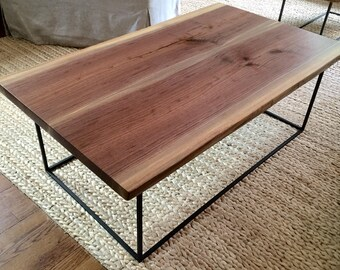 Walnut Coffee Table With Steel Base