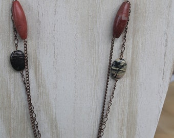 Copper and  Rhodonite double strand long necklace