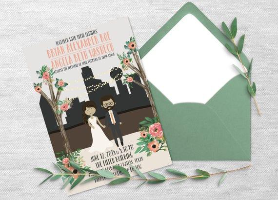 Wedding Invitations Dallas: Dallas Skyline Floral Personalized Couple Wedding