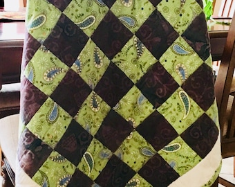 Green Paisley Baby Crib Patchwork Quilt Blanket