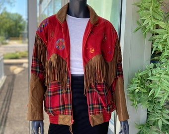 CHAR Santa Fe Vintage 1980s Geniune Leather Suede Fringe Plaid Metallic Shimmery Heart Motif Southwest Style Jacket - Size Small - Unisex