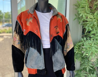CHAR Santa Fe Vintage 1980s Genuine Leather Suede Fringe Jacket with Metallic Southwest Animal Geometric Print - Size Small - Unisex