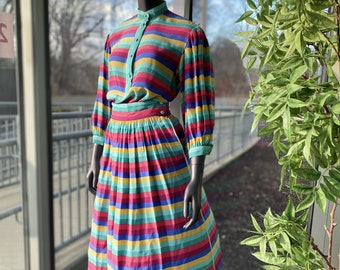 ESCADA Vintage 100% Silk Striped Three Piece Matching Outfit - Size 4 - 1970s Blouse, Skirt, Scarf Colorful Stripes