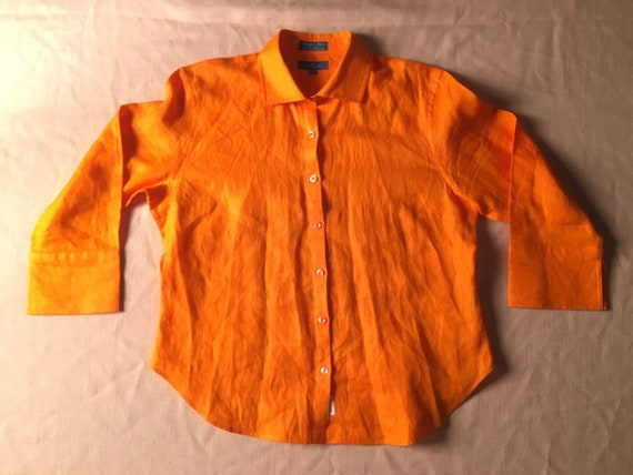 6f4a24761c84 1970 s Façonnable 100% Linen Blouse Bright Orange