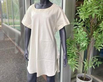 VICTORIA'S SECRET Gold Label Vintage 1980s Wide Neck Dolman Sleeve Round Hem Satin Finish Short Sleeve Tunic Nightgown - Size M/L