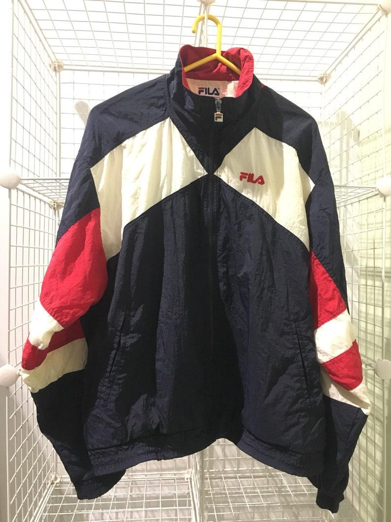 a3c4092fe2fa5 Vintage early 90's FILA Track Jacket Size L WINDBREAKER full zip American  Flag 1990's Vtg Hip Hop Sportswear Pony Umbro Kappa Reebok Starter