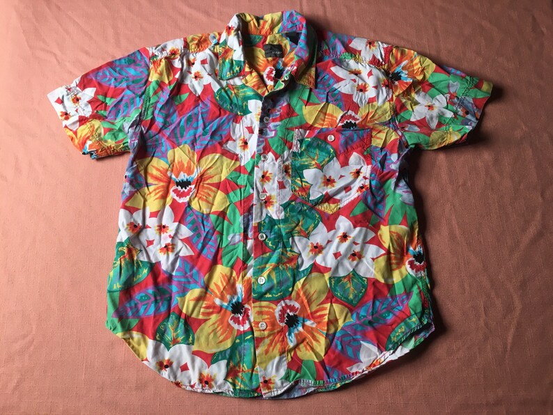 0294914a 1980s LIZWEAR Hawaiian Shirt Rayon LIZ CLAIBORNE Bright Colors | Etsy