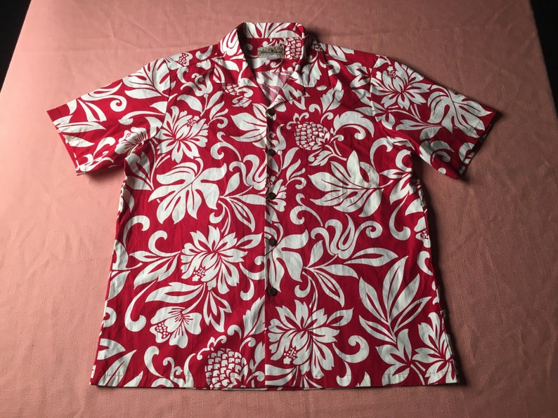 6aa6de626 1980's Hawaiian Shirt by BLUE HAWAII Red & White Hibiscus | Etsy