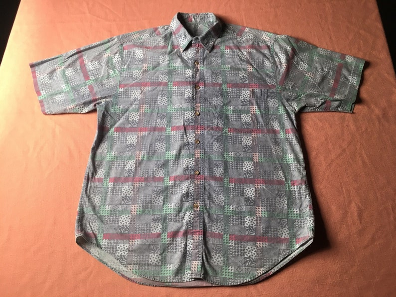 f5195677 1980's Tiki Shirt Abstract Geometric Tribal All Over Print | Etsy