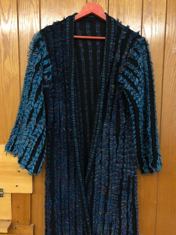 Vintage Crochet Knit Robe - House coat - Long Card