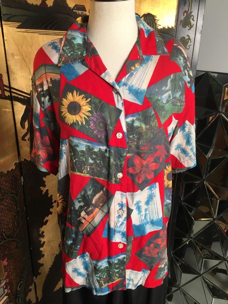 065a6cc6 1980s Liz Claiborne LIZWEAR Hawaiian Shirt Rayon Photo Montage | Etsy