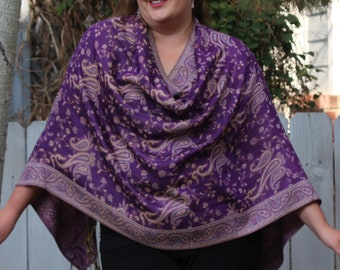 Purple and Lavender All-Over Paisley Pashmina Poncho Shawl