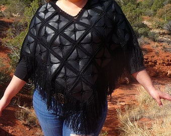Black Leather Patchwork Fringe Poncho