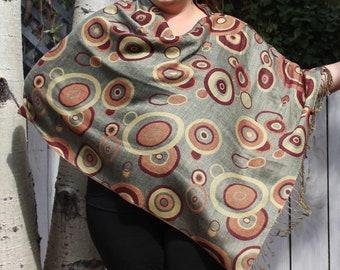 Green and Maroon Geometric Circle Pashmina Poncho Shawl