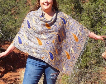 Blue and Orange Small Paisley Pashmina Poncho Shawl