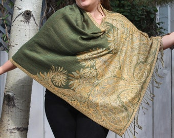 Green and Yellow Bohemian Paisley Pashmina Poncho Shawl