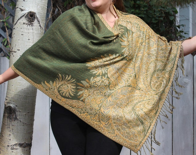 Featured listing image: Green and Yellow Bohemian Paisley Pashmina Poncho Shawl