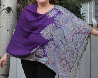 Purple and Turquoise Bohemian Paisley Pashmina Poncho Shawl