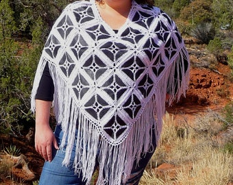 Black and White Leather Patchwork Fringe Poncho