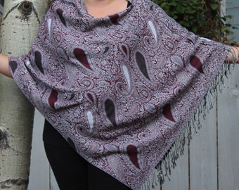 Maroon and White Small Paisley Pashmina Poncho Shawl