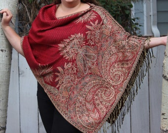 Red and Black Bohemian Paisley Pashmina Poncho Shawl