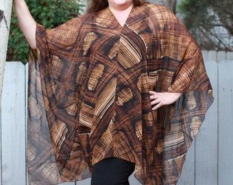 Black and Brown Shawl Top - Silk