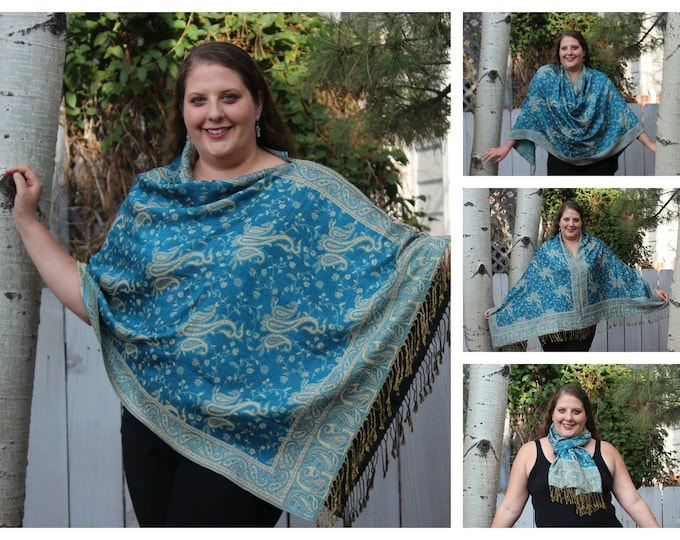 Featured listing image: Turquoise All-Over Paisley Pashmina Poncho Shawl