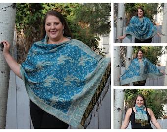 Turquoise All-Over Paisley Pashmina Poncho Shawl
