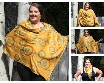 Yellow Geometric Circle Pashmina Poncho Shawl