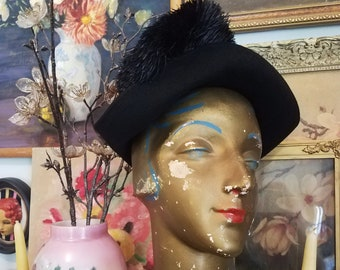 Vintage 1930's Black Wool Tricorn Shape Hat with Black Feathers