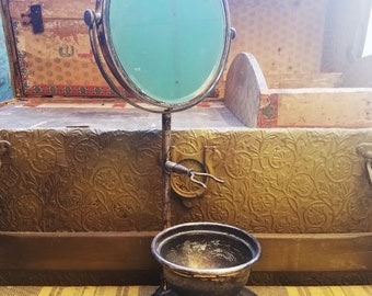 Vintage Victorian Apollo Etsched Silver Plate Shaving Mirror with Stand