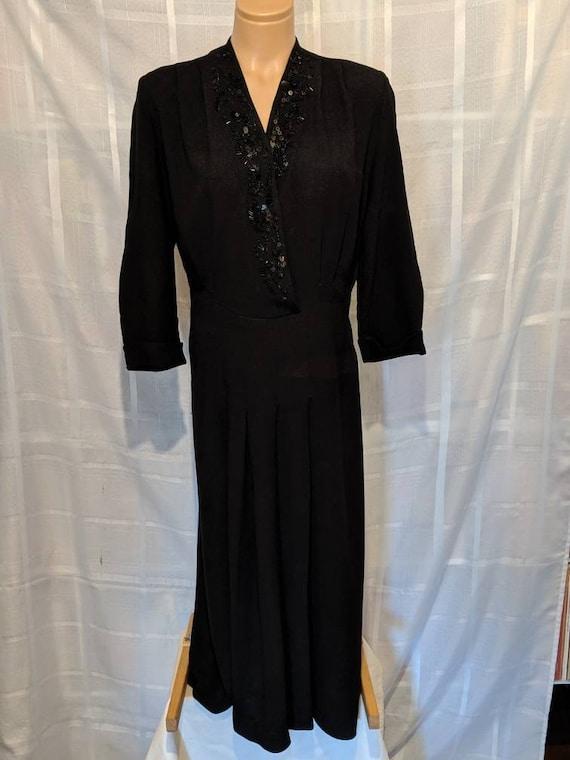 Beautiful Black Crepe Beaded 1940s Dress Sz M