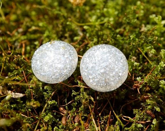 Diamond EFX Resin Stud Earrings - Round - 12mm
